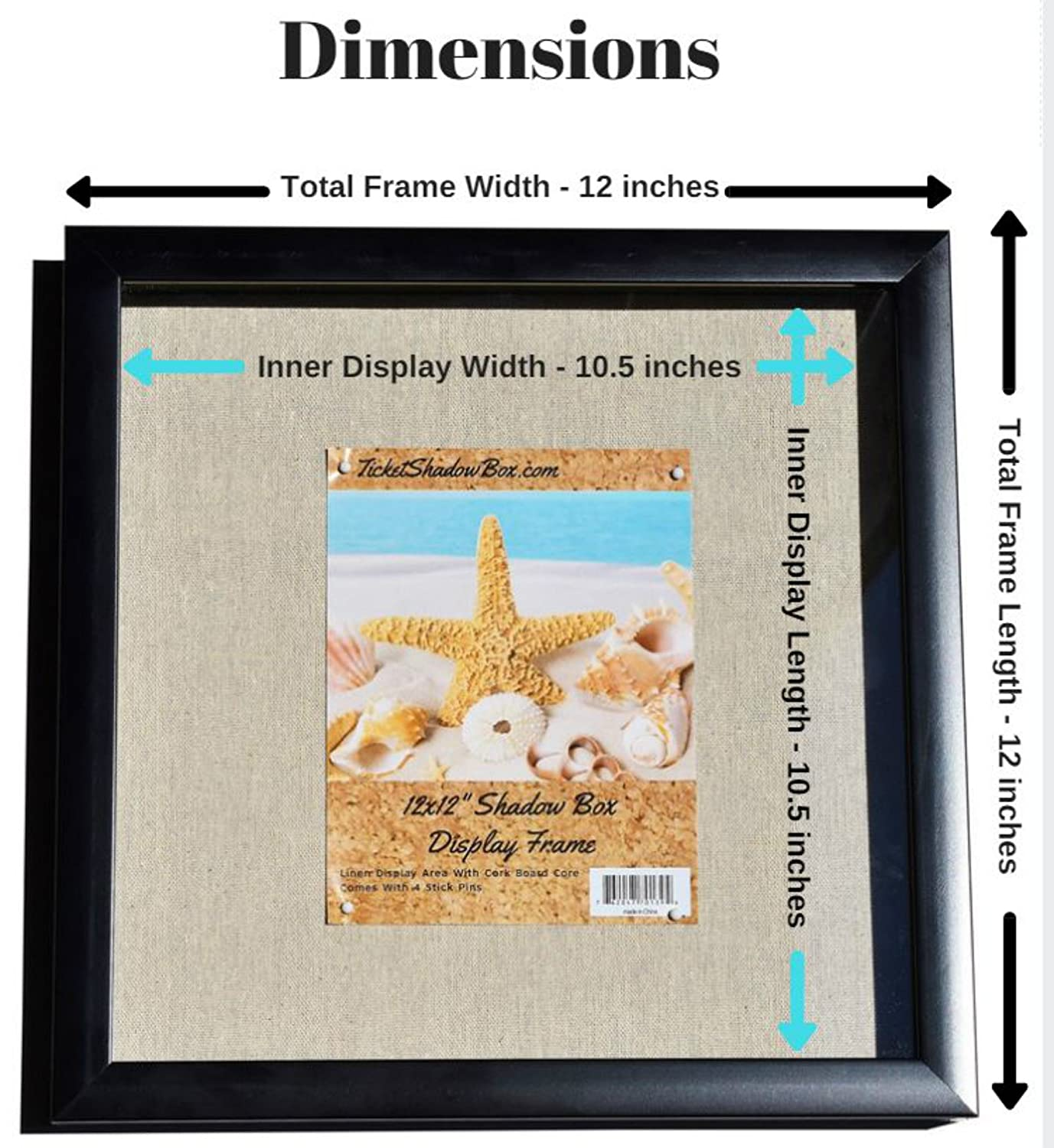 """12x12"""" display shadow box frame 2 pack with linen"""