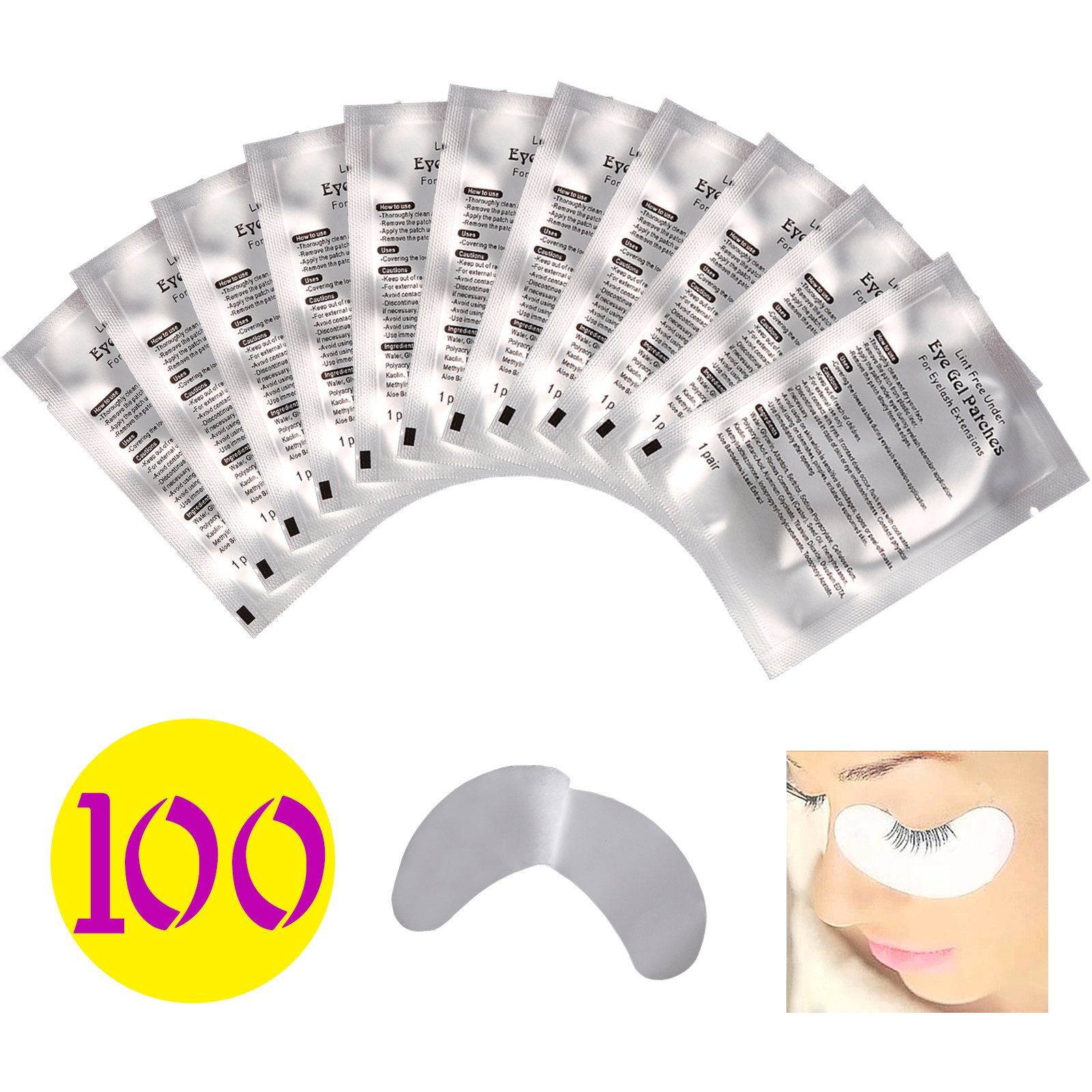 Baisidai 100 Pairs Professional Lint Free Under Eye Gel Pad Patches for Eyelash Extensions (100 Pairs)