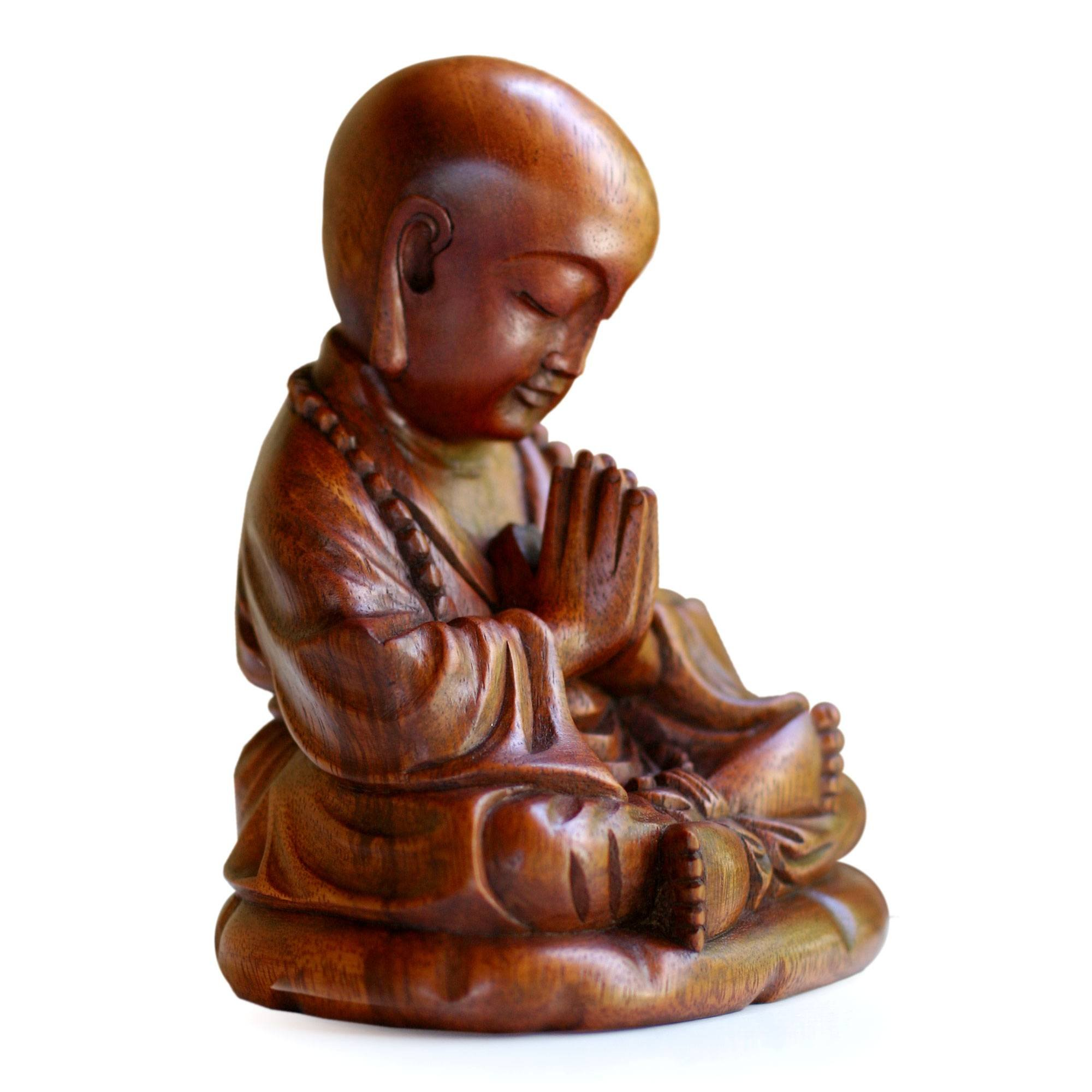 NOVICA Hand Carved Natural Suar Wood Religious Buddhist Sculpture from Indonesia 'Little Buddha Praying'
