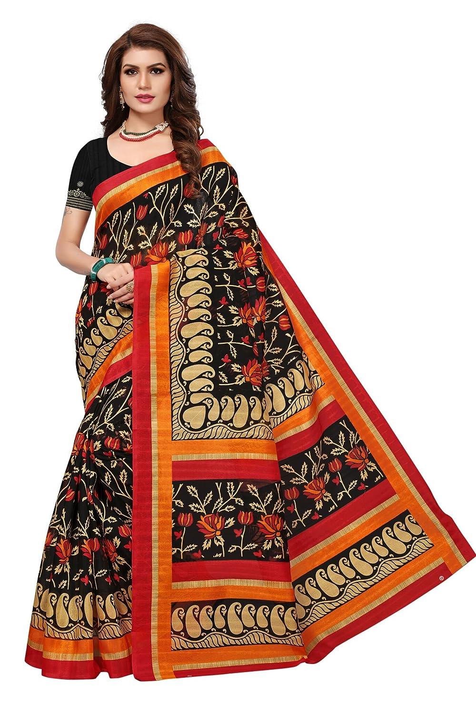 Shonaya Womens Black Colour Bhaglpuri Silk Printed Saree with Unstitched Blouse Piece NATASHA-BLACK