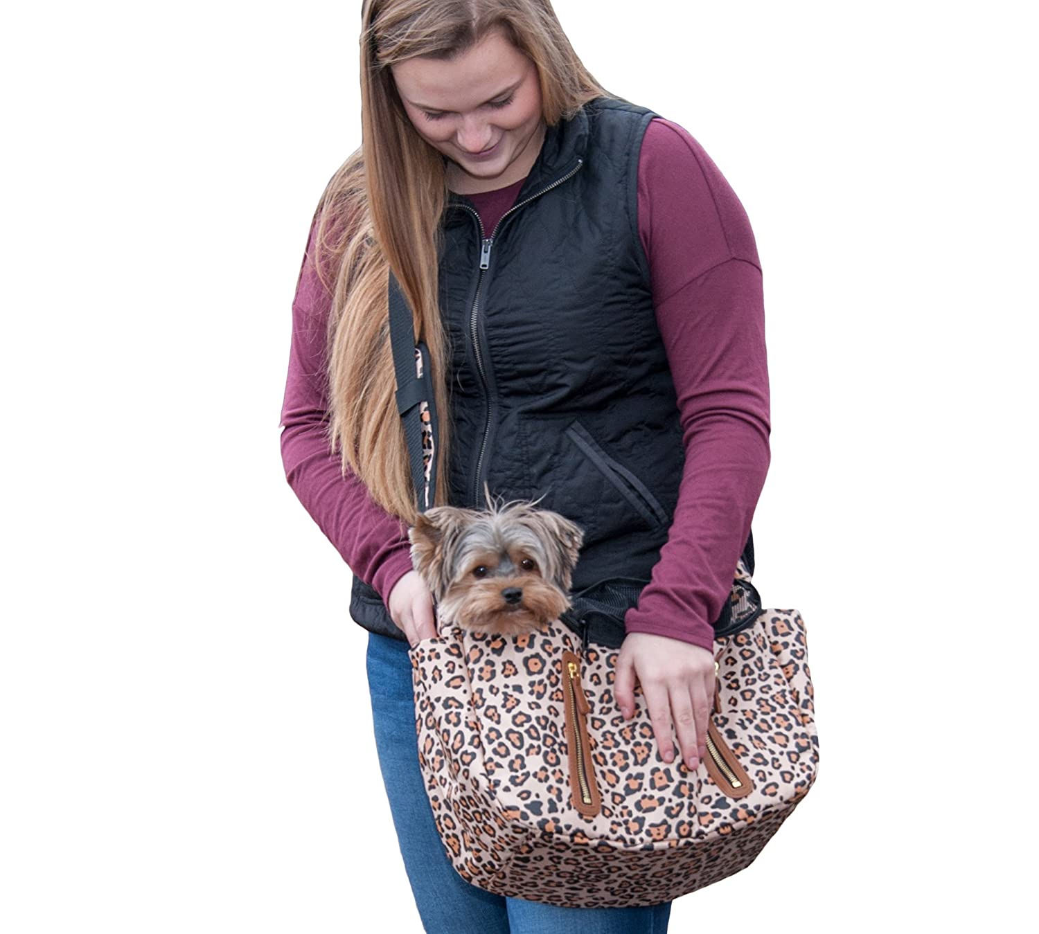 Jaguar Pet Gear R&R Sling Carrier for Cats Dogs, Storage Pockets, Removable Washable Liner, Zippered Top with Mesh Window