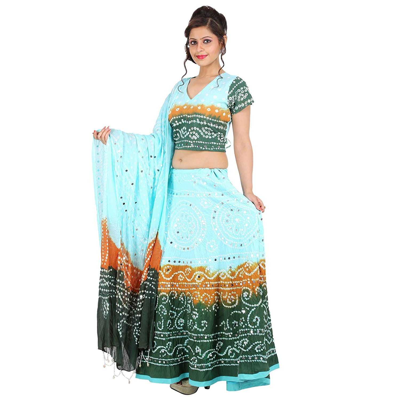 bb57184470 Sunshine Ecommerce Beauteous Multicolorcolor Cotton Handmade Bhandej & Sequin  Work Lehenga Choli: Amazon.in: Clothing & Accessories