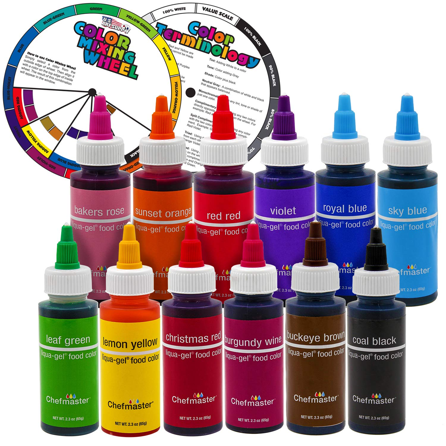 12 Food Color U.S. Cake Supply 2.3-Ounce Liqua-Gel Cake Food Coloring Variety Pack with Color Mixing Wheel - Made in the U.S.A.