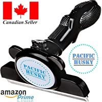 Pacific Husky Pet's Shedding Brush - Self Cleaning DeShedding Tool w/Fur Ejector, Detachable Comb, Stainless Steel Edge and Ergonomic Handle - Suitable for Dogs, Cats & Horses - (Large - Black)