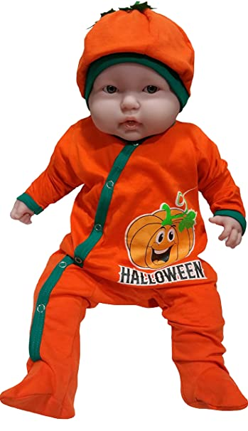 baby first halloween outfit for infants with pumpkin smiling face by tenteeto 0 3