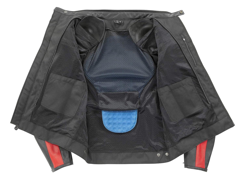 Joe Rocket Mens Old School Leather Jacket Black//Red Large 1934-1104