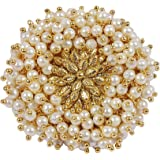 Much More White Pearl Beads Made Gold Plated Polki Ring For Women