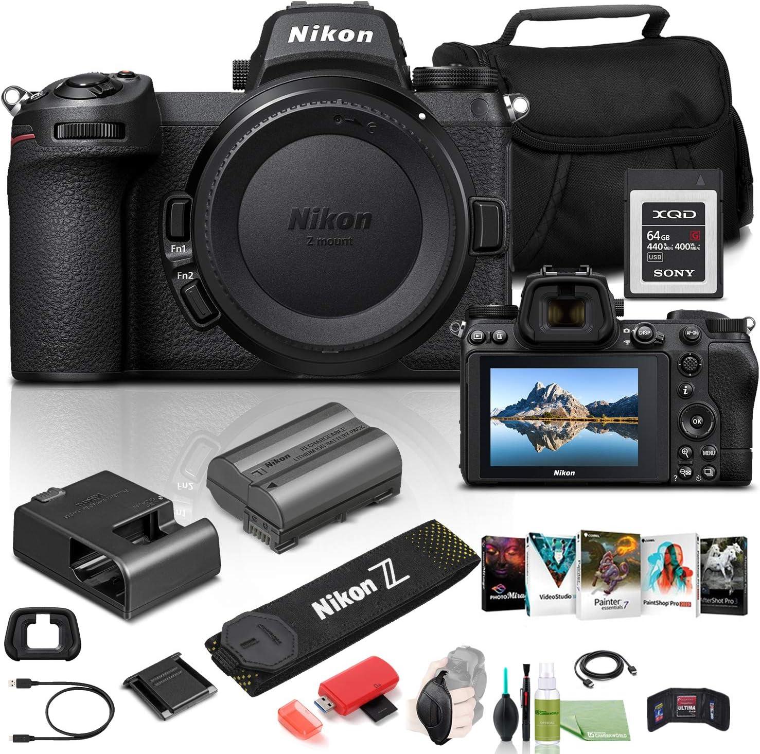 Nikon Z 6II Mirrorless Digital Camera 24.5MP (Body Only) (1659) USA Model + 64GB XQD Card + Corel Photo Software + Case + HDMI Cable + Card Reader + Hand Strap + More