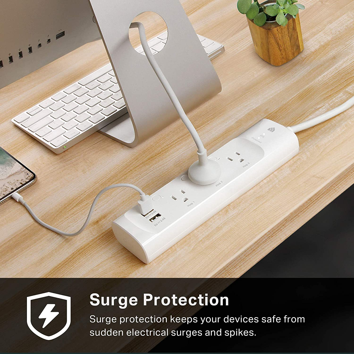 Kasa Smart Plug Power Strip Surge Protector w 3 Smart Outlets and 2 USB Ports Works with Alexa Echo
