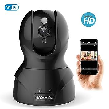 Evolva Future Technology Cámara IP Wi-Fi Seguridad Monitor de Vigilancia con Visión Nocturna Pan / Tilt, Audio Bidireccional, Detección de Movimiento ...