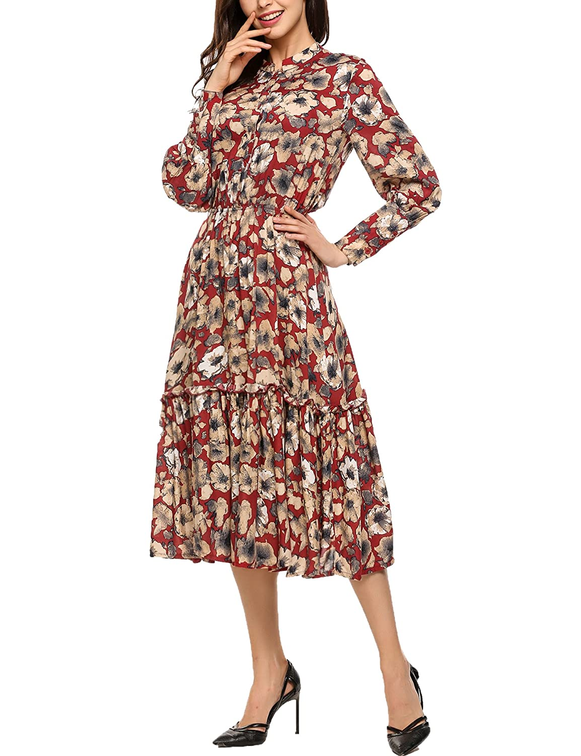ACEVOG Women's Casual Long Sleeve Floral Print Button Up Flowy Party Maxi Dress