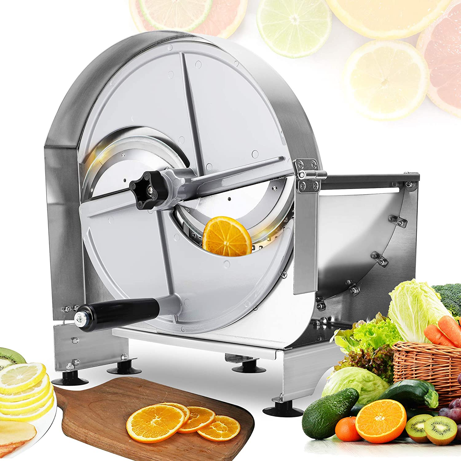Mxmoonant Commercial Vegetable Slicer Manual Fruit Potato Shredder Adjustable Thickness 0.03-0.47''(0.8-12mm) Stainless Steel Blade for Slicing Onion Ginger Lemon Cabbage