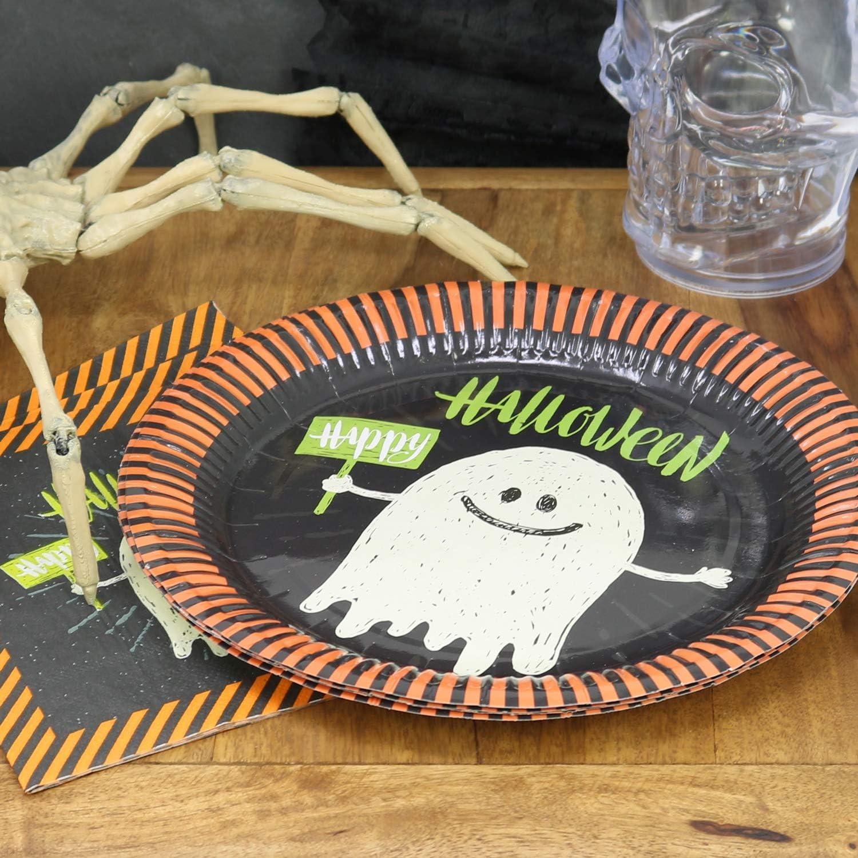 COM-FOUR/® Ensemble de 24 tasses et assiettes 024 pi/èces - Ensemble de vaisselle Day of the Dead vaisselle de f/ête jetable pour Halloween f/ête sur le th/ème du jour des morts anniversaire