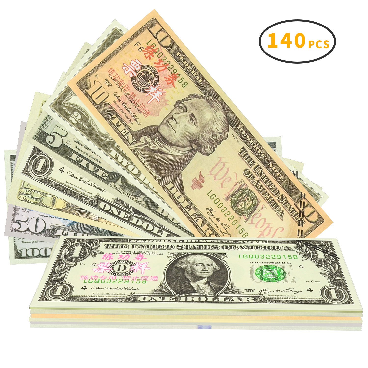 Winkeyes 140pcs Prop Money Play Money Realistic Copy Paper Money Full Print 2 Sided for Movie Game Kids School Students