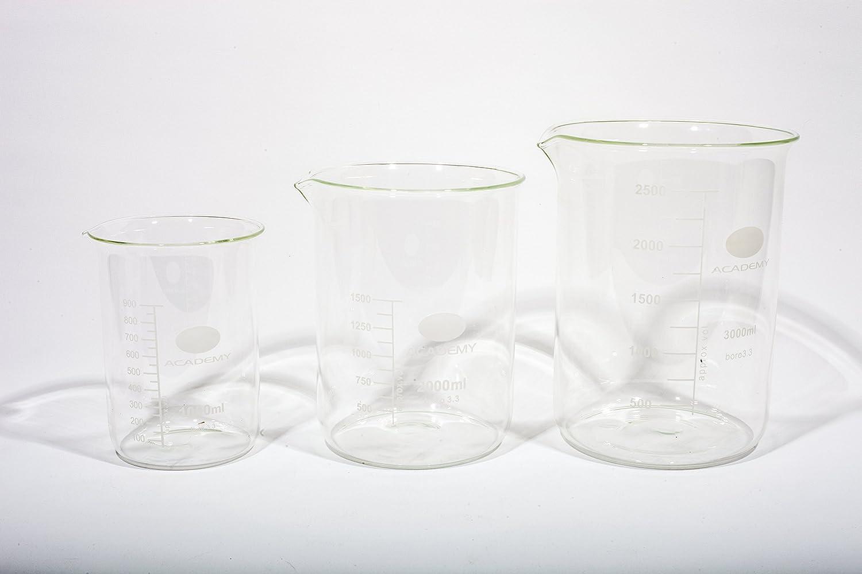 LABORATORY BOROSILICATE GLASS MEASURING BEAKER SET 1000; 2000; 3000ML - 1 OF EACH ACADEMY