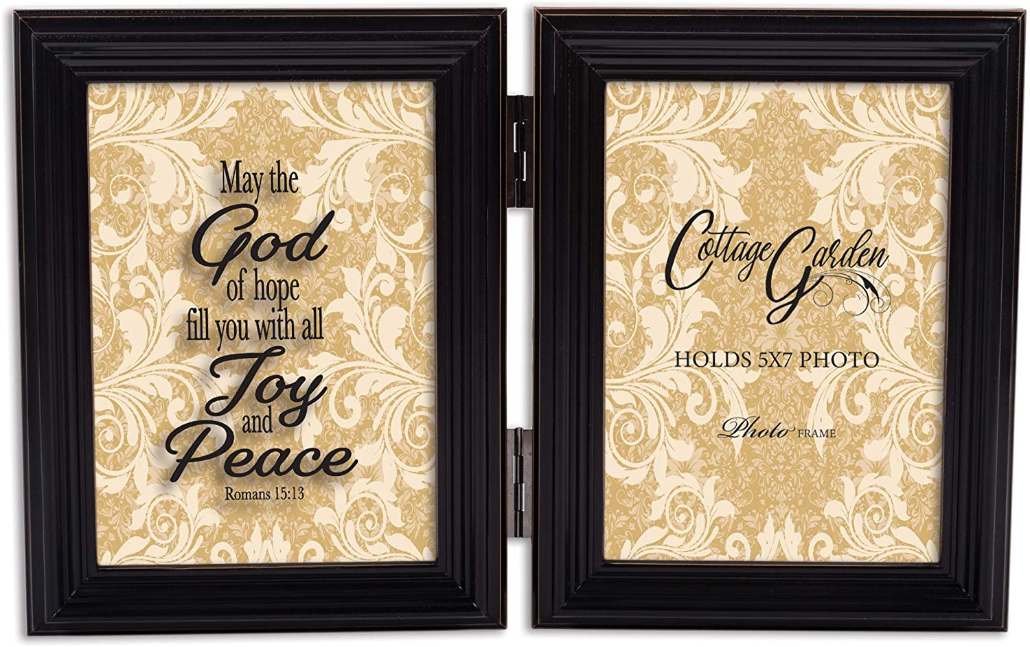 Cottage Garden Fill Joy Peace Midnight Black 5 x 7 Wood Hinged Double Tabletop Photo Frame