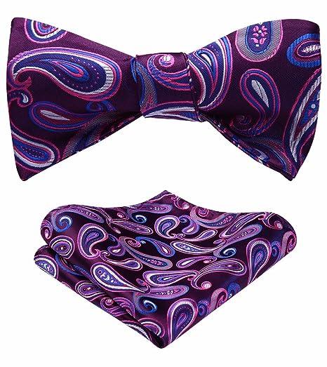 da34113b8ed3 HISDERN Men's Paisley Jacquard Self Bow Tie Pocket Square Set Wedding Party  Purple