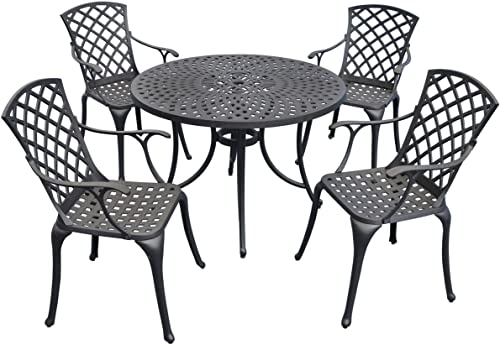 Flash Furniture 30 Round Red Metal Indoor-Outdoor Bar Table Set with 4 Cafe Stools