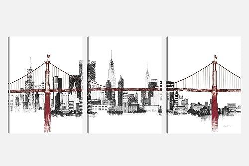 Art Maison Wall Art Canvas, Set of 3 30 X40 , Bridge Skyline
