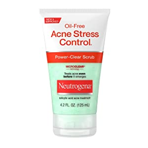 Neutrogena Oil-Free Acne Stress Control Power-Clear Face Scrub, Salicylic Acid Acne Treatment for Acne-Prone Skin, 4.2 fl. oz