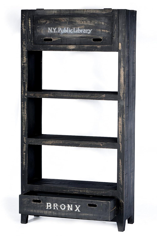 SIT-Möbel 4299-11 Regal Bronx, 90 x 35 x 180 cm, Mangoholz lackiert, antikschwarz