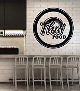 Vinyl Wall Decal Thai Spicy Food Restaurant Cafe Cuisine Stickers Mural Large Decor (g2972) Black