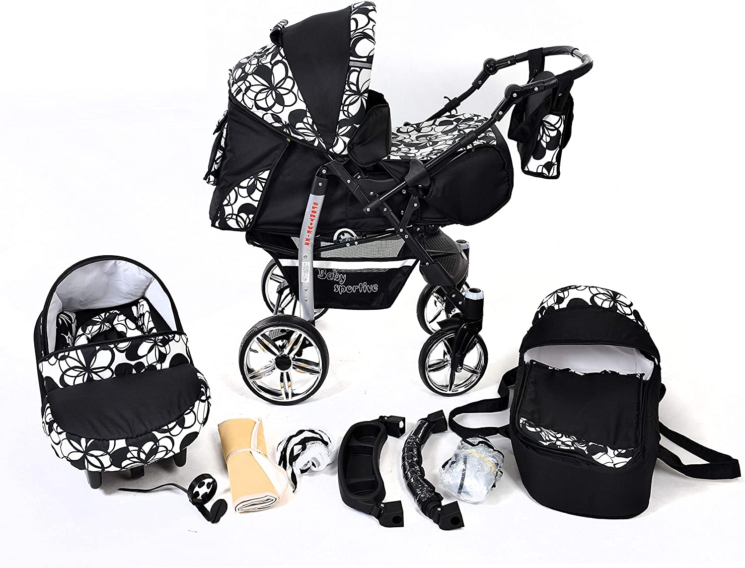 Sportive X2, 3-in-1 Travel System incl. Baby Pram with Swivel Wheels, Car Seat, Pushchair & Accessories (3-in-1 Travel System, Black & Flowers)