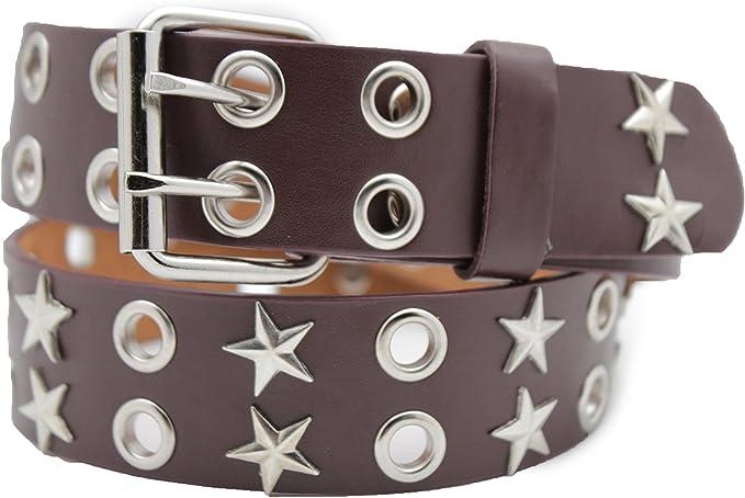 Women Fashion Belt Hip Waist Black Faux Leather Silver Metal Buckle Studs S M L