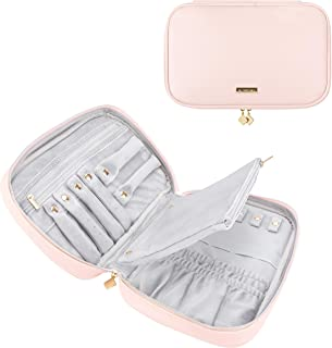 Comfyable Jewelry Travel Case, Bag Jewelry Organizer for Necklace, Earrings, Rings, Bracelet Pink