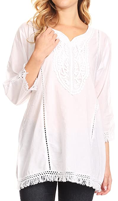 789cf167f8 Sakkas Cordelia 3/4 Sleeve Crochet Lace Split Neck Top with Waist Tie at  Amazon Women's Clothing store:
