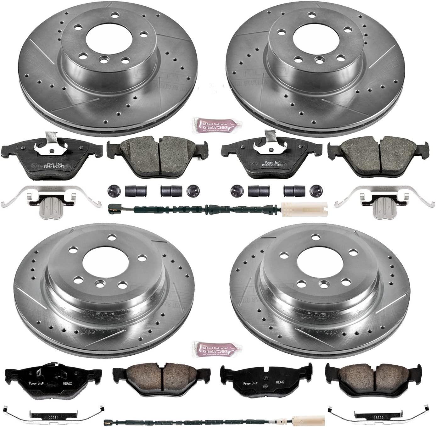 Power Stop K7024 Front and Rear Z23 Evolution Brake Kit with Drilled//Slotted Rotors and Ceramic Brake Pads