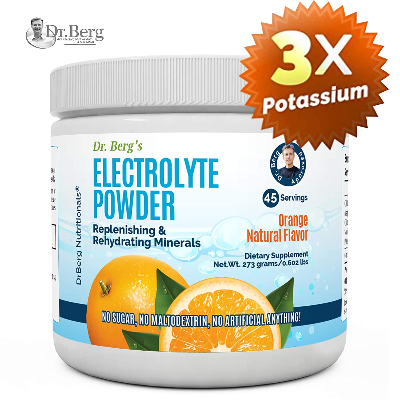 Dr. Berg's Original Electrolyte Powder, High Energy, Replenish & Rejuvenate Your Cells, 45 Servings, NO Maltodextrin or Sugar, Amazing Orange Flavor (Solo Pack)