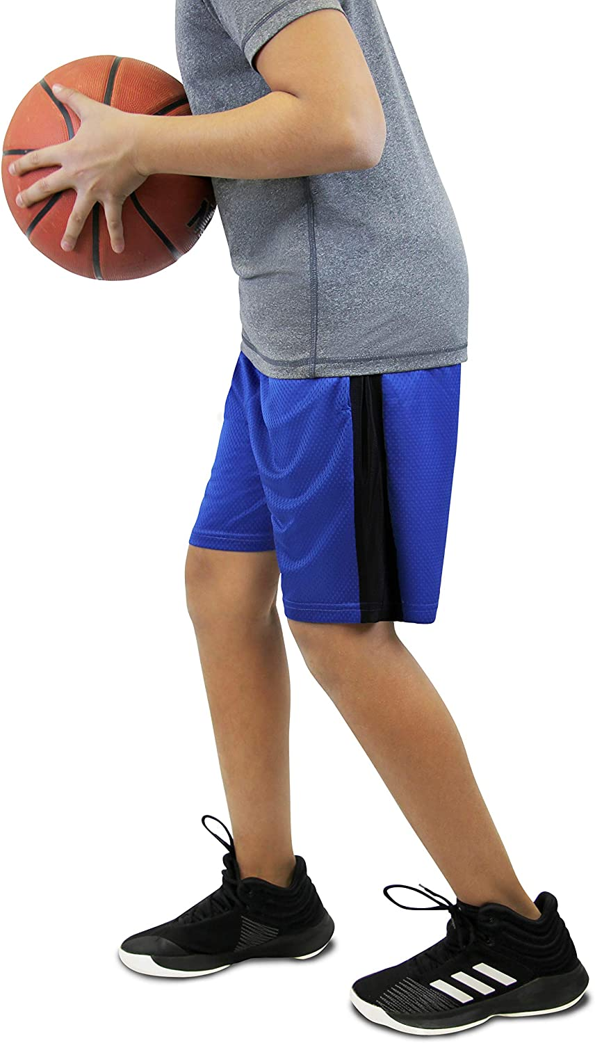 Boys Premium Active Athletic Performance Shorts with Pockets - 3 Pack: Clothing