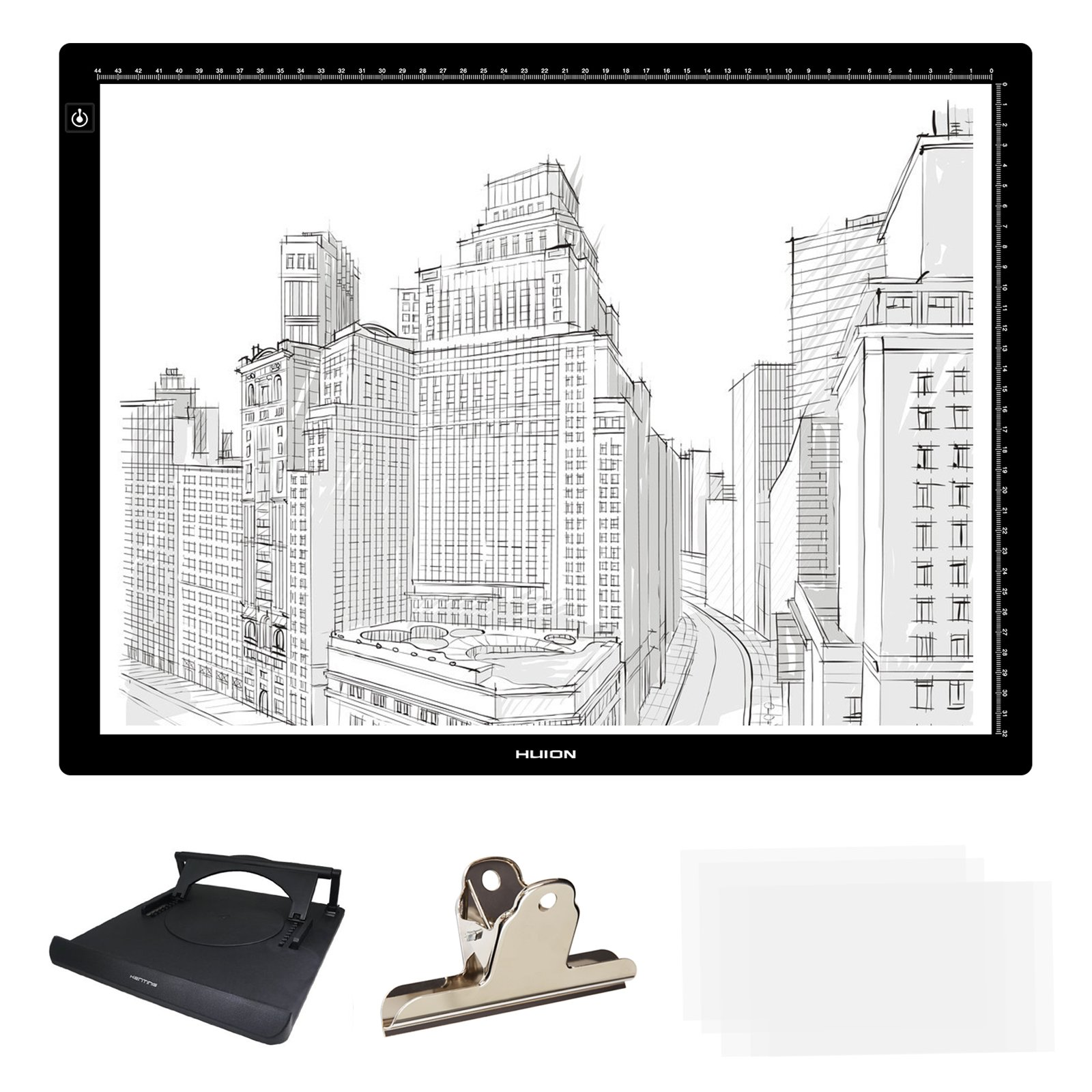 Huion 23.5'' (Diagonal Length) LED Artcraft Tracing Stencil Light Box Adjustable Brightness Light Pad Copy Board Table USB Powered with Multifunction Holder LA3H