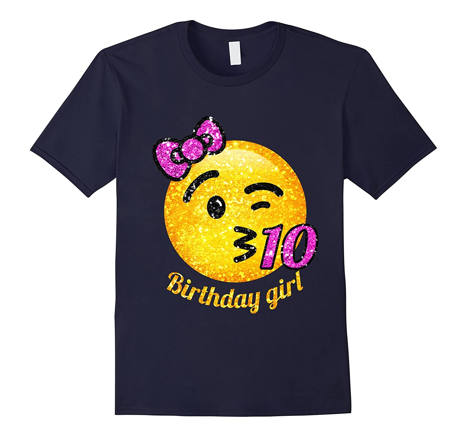 10th birthday throwing a Kiss Emoji with number shirt-TD