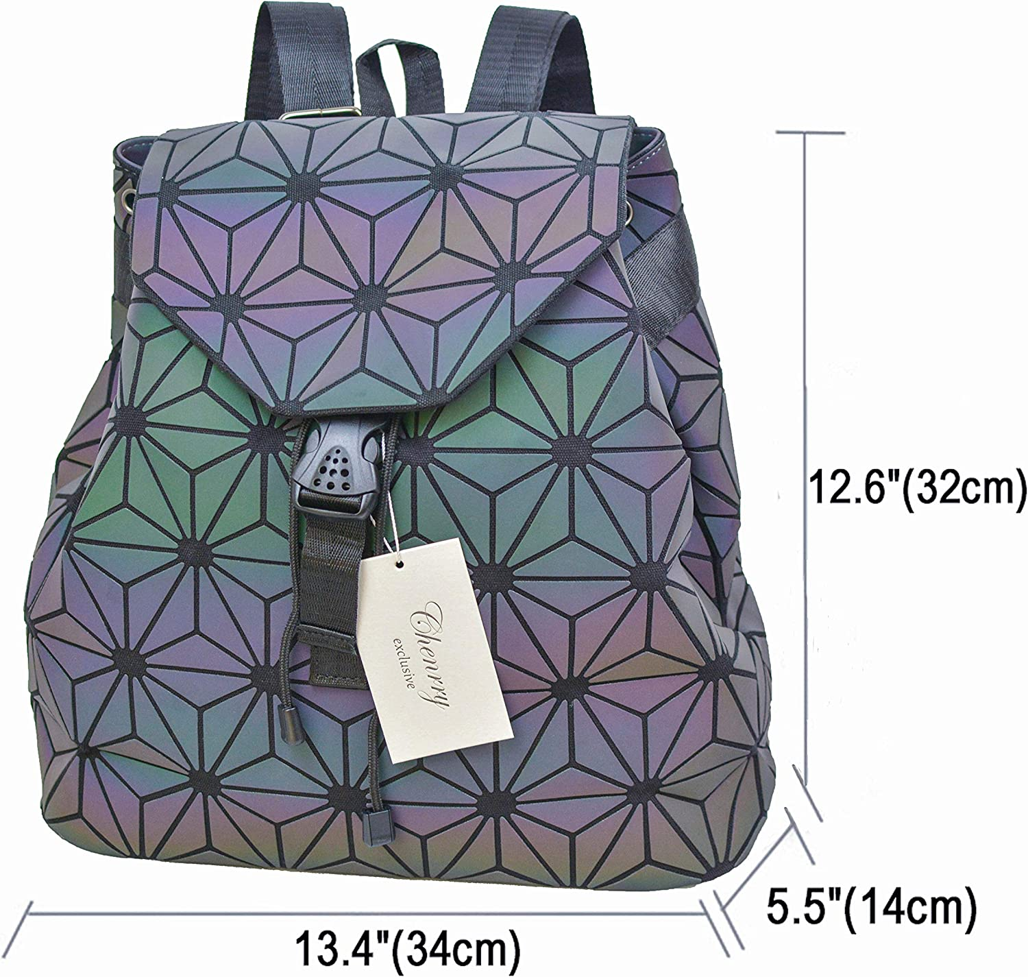 Geometric Backpack Luminous Backpacks Holographic Reflective Bag Lumikay Bags Irredescent Rucksack Rainbow