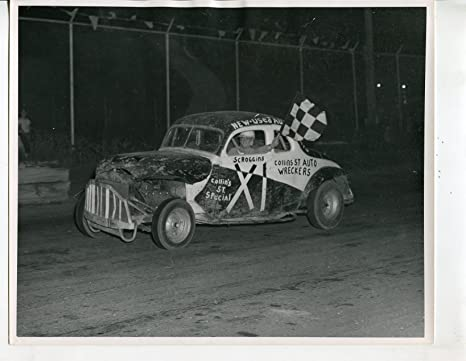 Mance Park Speedway-Original-Auto Race-Photo-Checkered Flag-Winner