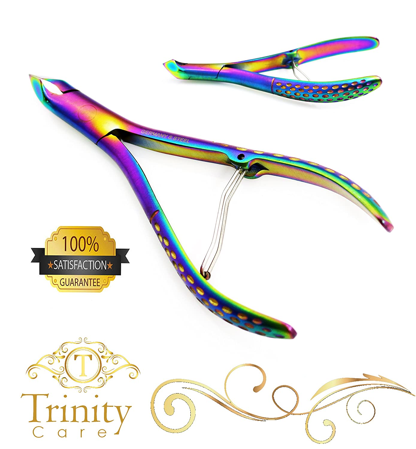 GERMAN Steel CURVED Cuticle Nipper Titanium Satin Cutter Remover Trimmer RRP £20 (TITANIUM) TRINITY CARE PRODUCTS LTD