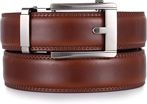 Brown Leather with Silver Buckle Enclosed in an Elegant Gift Box Full Grain Cow Leather Strap with Removable Buckle Custom: Up to 44 Waist Marino Mens Belt