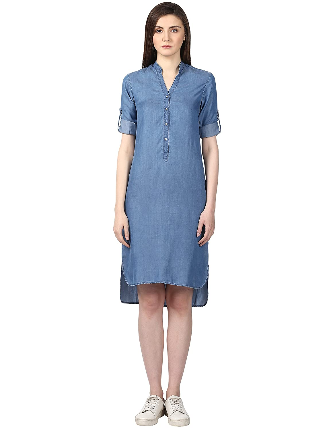 50169f8482a Park Avenue Woman Medium Blue Regular Fit Lyocell Dress  Amazon.in  Clothing    Accessories