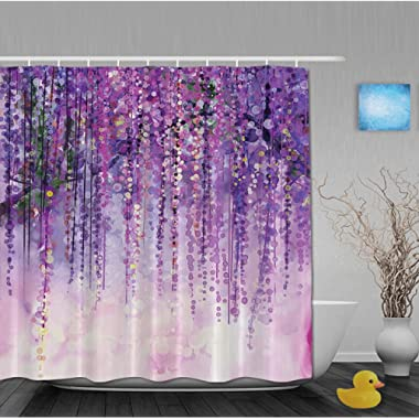 YUNBABA Art Printing Decor Collection Spring Landscape Purple Floral Bathroom Shower Curtains Fade Resistant Waterproof Polyester Fabric 80 x72 Inch