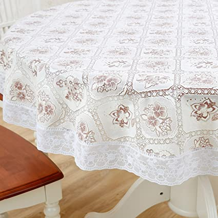 Gentil Round Vinyl Plastic Oilcloth Tablecloth Lace Wipeable Oil Proof Waterproof  Spillproof PVC Heavy Duty Fall