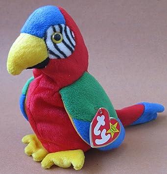 f202b6c3abf TY Beanie Babies Jabber the Parrot Plush Toy Stuffed Animal  Amazon.co.uk   Toys   Games