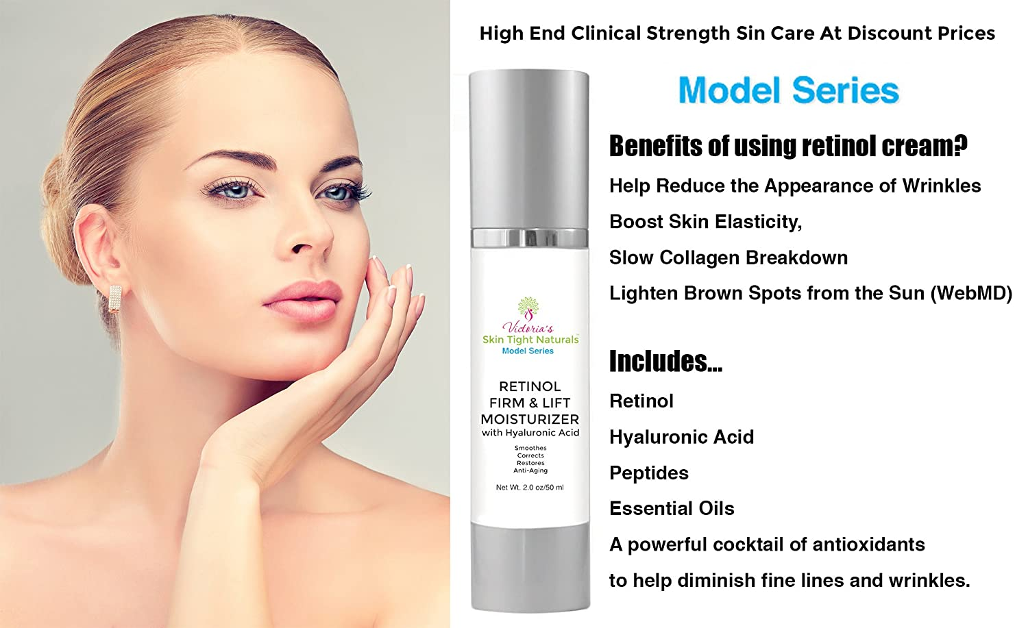 Retinol Firm Lift Moisturizing Cream Celebrity Model Series Hyaluronic Acid Peptide Essential Oils Rejuvenating Skin Tightening Anti Aging Crepe Skin Cream