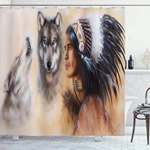 Ambesonne Colorful Shower Curtain, Blur Mystic Painting of Young Native Man Feather with Wolves, Cloth Fabric Bathroom Decor Set with Hooks, 70
