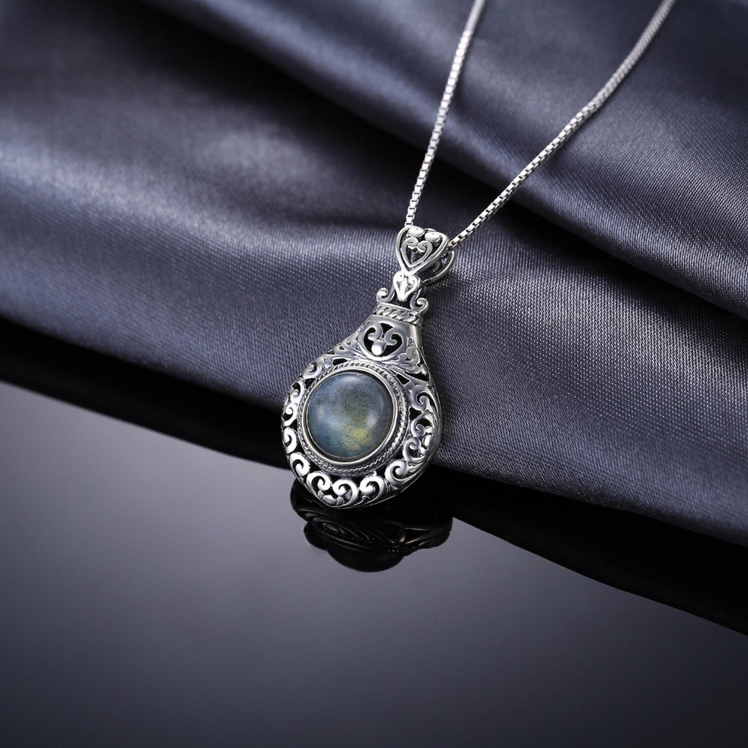 CS-DB Pendants 2.6ct Genuine Labradorite Carved Silver Necklaces