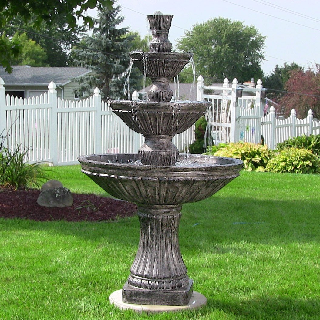 Sunnydaze Classic Three-Tier Designer Outdoor Water Fountain, Dark Brown, 55 Inch Tall