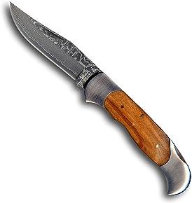 1aTTack.de Taschenmesser Jagdmesser Outdoor Messer - Klinge (20,3 cm) aus 67 Lagen Damaszener Damast Stahl - Taschenmesser Einhandmesser (Sammlerstück) - Edelstahl mit Oliven Holz EinLagen