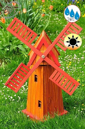 Gran Molino De Viento de 4eckig grande, jardín Molino de viento 100 cm, madera e6ck100 de ro de MS, clásico con borde de balcón & ventanas, completamente funcionales, con detalles, Cruz decorativa