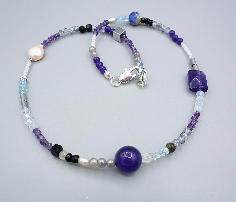Bunte Edelsteinkette - Amethyst Aquamarin Perlen Kette - Damenkette - 45 cm
